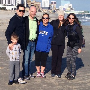 Camp Vega Leadership at the 2015 ACA Tri-State Conference in Atlantic City. From Left: Anthony Pyatt (Operations Director), Kyle Courtiss (Director), Debbie Green (Head Counselor), Sandy Harris (Program Director), Emily Courtiss (Director). Kids Paxton Courtiss (front) and Cameron Courtiss (behind).