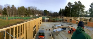 A view from above: looking past the Upper Tennis Courts to toward the Dining Hall
