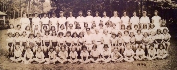 Alll-camp picture from Vega's first summer in 1936. Vega's Founder, Ruth Cohen, is seated in the center.