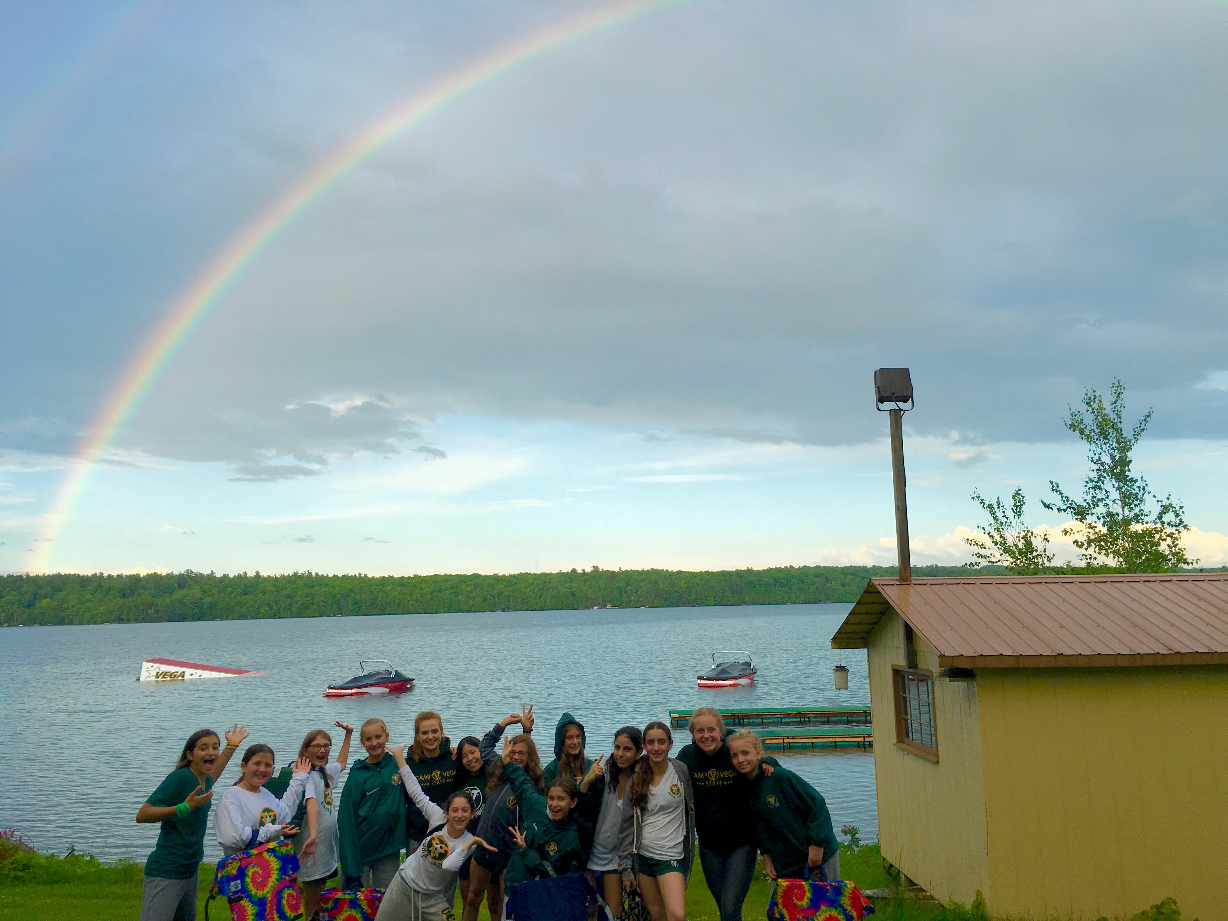 Vega campers enjoy a beautiful double rainbow during summer 2016
