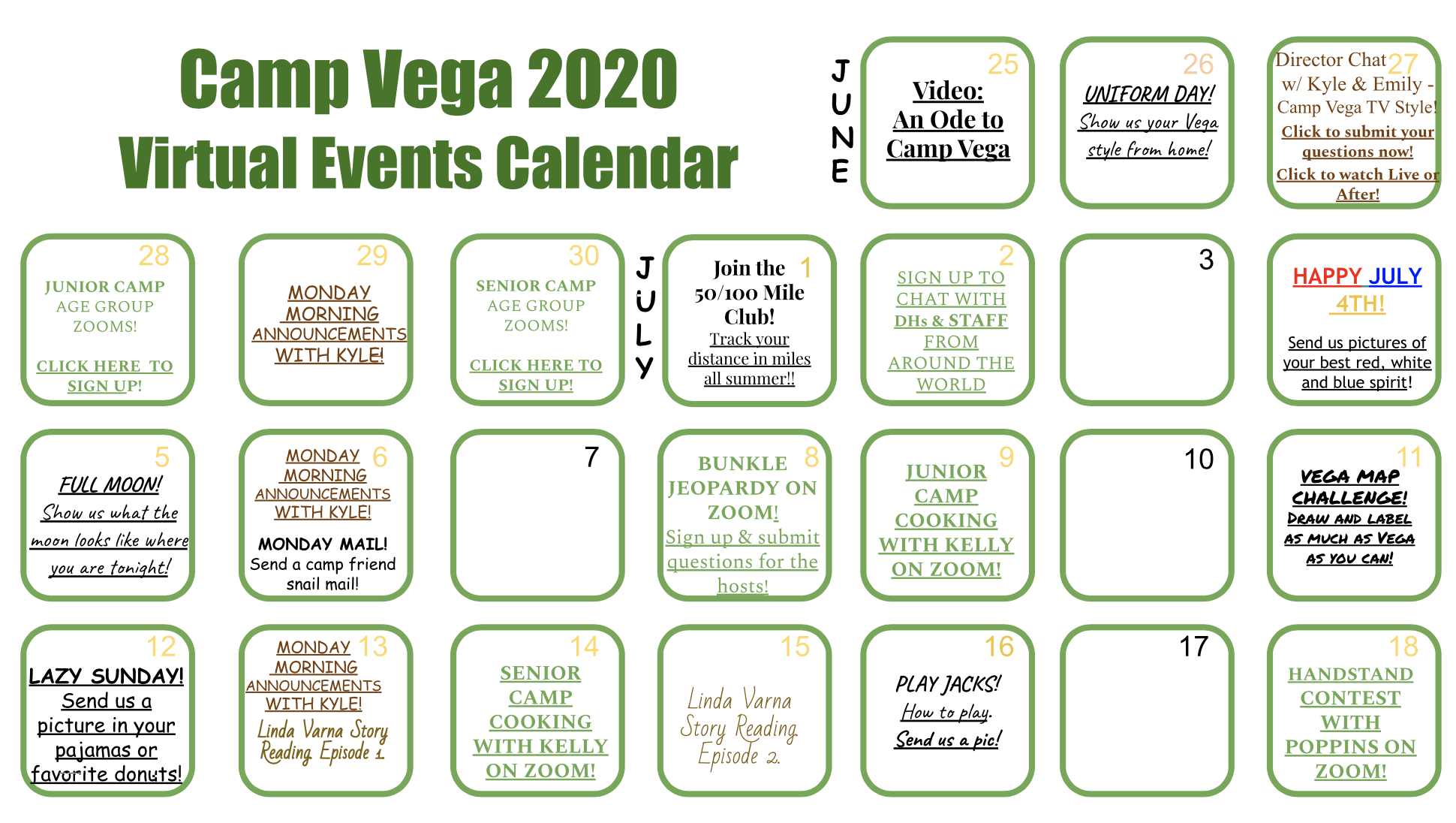 2020 Virtual Calendar Weekly Recap #1